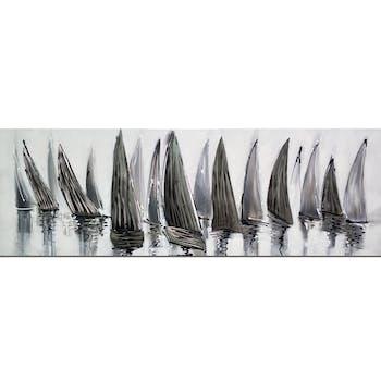 Tableau bateaux gris effet métal