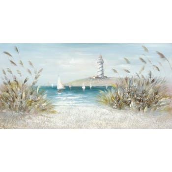 Tableau Bateaux naviguant sur l'eau 70x140 ajout d'éléments végétales et naturels en relief. Peinture acrylique