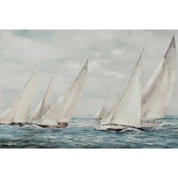 Tableau bateaux tons blancs