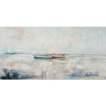 Tableau bord de mer 2 bateaux au loin