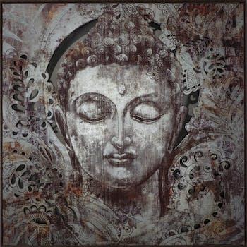 Tableau Bouddha argenté sur plaque métal découpée 100x100