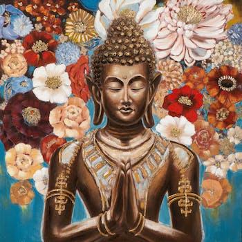 Tableau Bouddha et fleurs fond bleu