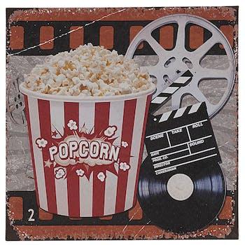 Tableau cornet de popcorn et bobine 28x28x1cm
