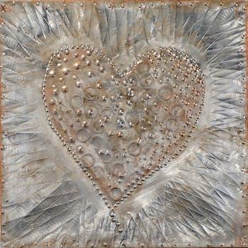 Tableau C?UR peinture sur plaque métal tons argentés, bruns et beiges 60x60cm