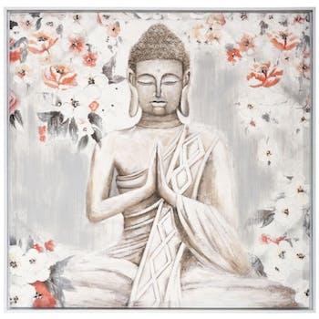 Tableau de Bouddha fond gris et fleurs