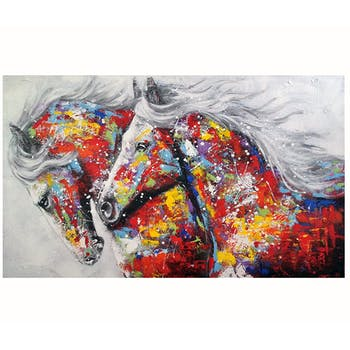 Tableau de chevaux multicolores en duo