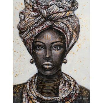 Tableau de femme africaine blanc, noir, brun, ocre