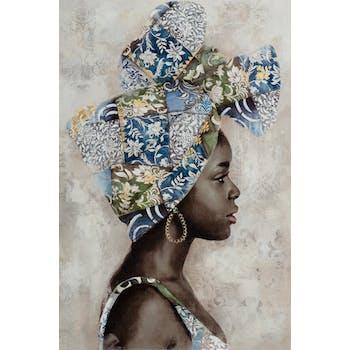 Tableau de femme africaine coiffe bleu et vert