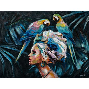 Tableau de femme africaine et 2 perroquets
