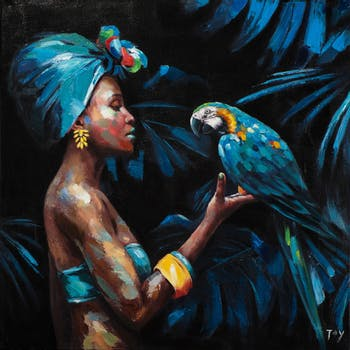 Tableau de femme africaine et perroquet