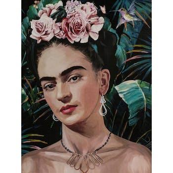 Tableau de femme avec fleurs dans les cheveux