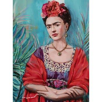 Tableau de femme tons rouges et violets