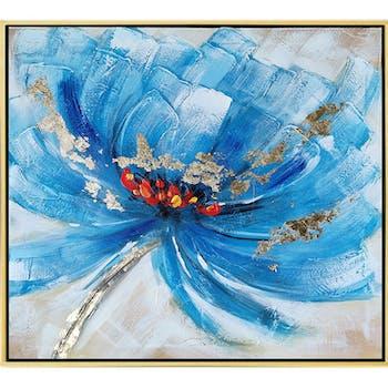 Tableau de fleur bleue et or