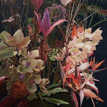 Tableau de fleurs exotiques sur fond noir