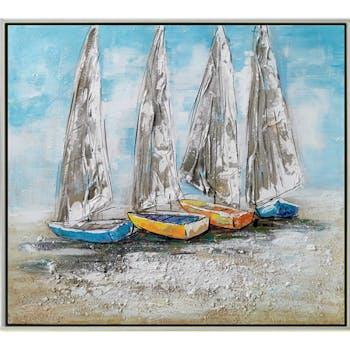 Tableau de voiliers sur le sable