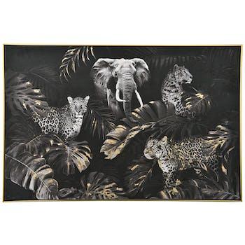Tableau décoratif jungle or, noir et blanc