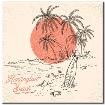 Tableau design vintage Huntington Beach aluminium