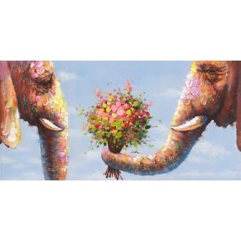 Tableau Eléphants POP ART 70X140 Doré. Peinture acrylique et feuilles métal