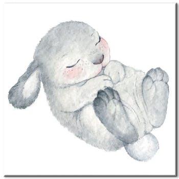 Tableau enfant lapin gris