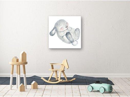 Tableau enfant lapin gris aluminium