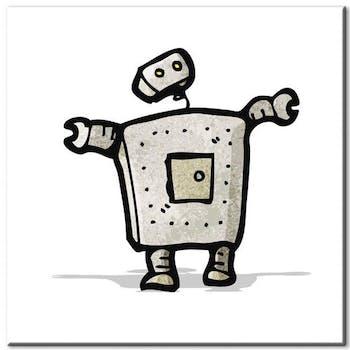 Tableau enfant robot aluminium