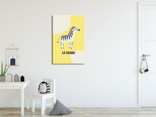 Tableau enfant zèbre fond jaune plexiglas