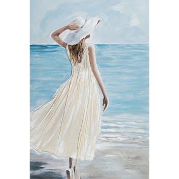 Tableau femme à capeline sur la plage 80x120