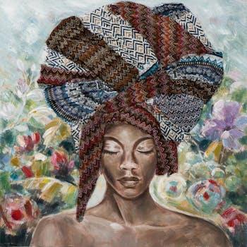 Tableau femme africaine à grande coiffe brune 100x100