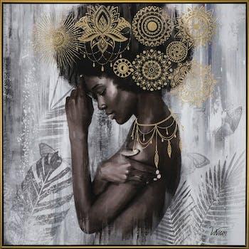 Tableau femme africaine en réflexion noir et or 82,5x82,5
