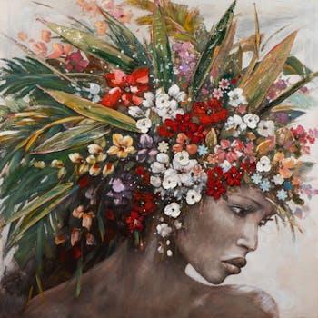 Tableau FEMME avec fleurs et feuillages multicolores 115x115cm