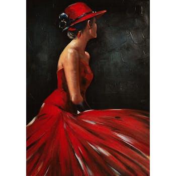 Tableau FEMME en robe rouge sur fond noir 70x100cm