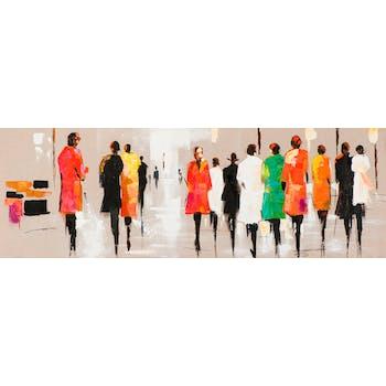 Tableau FEMMES tons orange, noirs, blancs et beiges 30x90cm