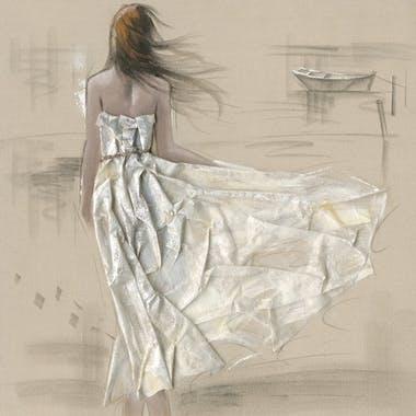 Tableau fibre naturelle 100x100 - peinture femme, robe en relief