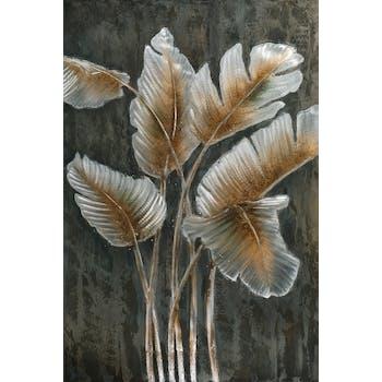 Tableau fleur feuilles sur fond sombre 100x150