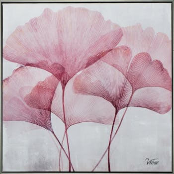 Tableau fleur rose ginkgo 5 tiges 72,5cm