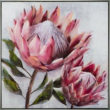 Tableau fleur rose soutenu pivoine 72,5x72,5