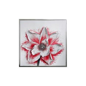Tableau FLEURS blanche et rouge avec relief sur les pétales 80x80cm