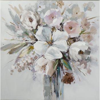 Tableau FLEURS Bouquet dans vase M2 peinture acrylique - tons noirs, blancs, beiges, marrons, verts, bleus et argentés 80x80cm