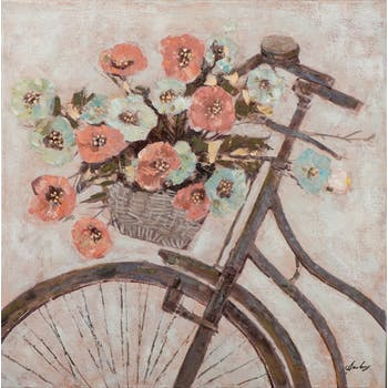 Tableau FLEURS Bouquet sur vélo tons rouges, beiges et jaunes 90x90cm