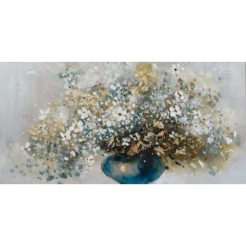 Tableau FLEURS bouquet vase bleu peinture acrylique et feuilles métal - tons noirs, blancs, couleurs, dorés et argentés 70x140cm