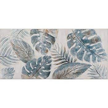 Tableau FLEURS Feuilles tropicales tons bleus, argentés et beiges 70x150cm