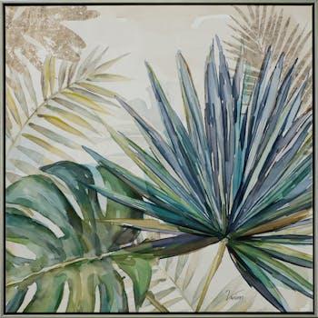 Tableau FLEURS Feuilles Tropicales tons verts, beiges et bleus 62x62cm