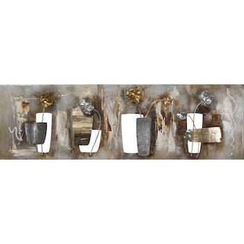 Tableau FLEURS peinture acrylique sur métal et éléments en relief - tons beiges, dorés et argentés 38x120cm