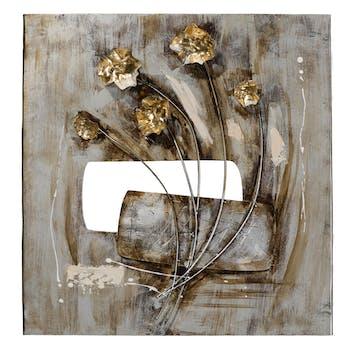 Tableau FLEURS peinture acrylique sur métal et éléments en relief - tons blancs, beiges, dorés et argentés 58x60cm