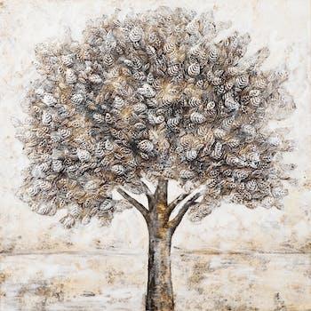 Tableau FORET Arbre Solitaire peinture tons noirs, blancs, beiges, dorés et argentés 100x100cm