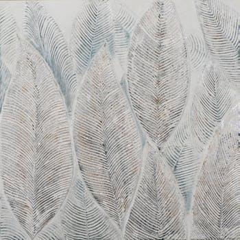 Tableau FORET feuilles avec effet pailleté tons beiges, argentés et bleus 100x100cm