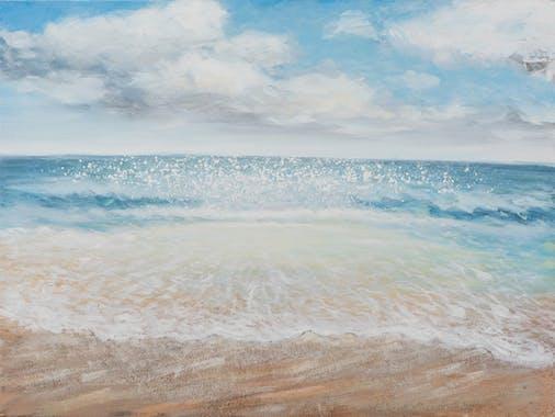 Tableau MARINE bord de mer tons bleus, blancs et beiges 90x120cm