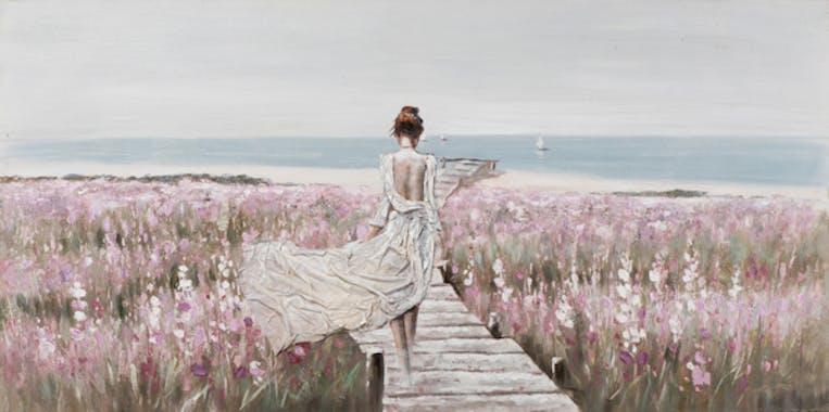 Tableau MARINE Femme sur ponton 70x140cm