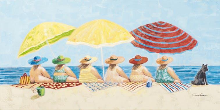 Tableau MARINE Femmes Pulpeuses à la plage scrutant l'horizon marin couleurs vives 140x70cm