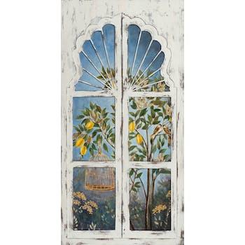 Tableau nature citronnier, oiseaux par fenêtre